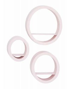 Woodland Imports Modern Pink Circle Wall Shelves - Set of 3 - Any wall is pretty in pink when you display the Modern Pink Circle Wall Shelves - Set of 3 . With a perfectly light pink matte finish, this set of. Circle Wall Shelf, Wood Wall Shelf, Wall Mounted Shelves, Wood Wall Decor, Display Shelves, Display Ideas, Pink Bedroom Walls, Pink Walls, Powder Room Decor