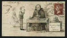 Hand Illustrated and Later Printed Envelopes: 1858 (March 15th) exceptional pen and ink illustrated envelope depicting an elderly lady behind a table apparently selling fruit to a young boy and girl