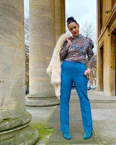 Outfit inspo on how to wear blue   For more style inspiration visit 40plusstyle.com