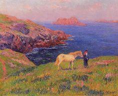 Falaise à Ouessant avec le cheval, huile sur toile de Henri Moret (1856-1913, France)