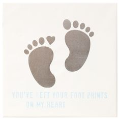Gold Foiled Foot Prints with Blue Text Accent Art- 16x16 in.