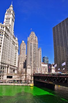 Chicago River dyed green on Saint Patrick's Day. #evolutiontravel #Chicago