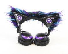 Pawstar accent sleeves only kitty mew ear covers for cat ear headphones you pick color scheme axent Pink Headphones, Sports Headphones, Purple And Black, Pink Purple, Black White, Tech Gifts, Tech Accessories, Kitty, Goth