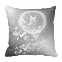 #Floral #Butterfly #Silver Throw #Pillow #elegant #unique #artistic #ninabaydur