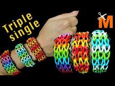 COMO HACER PULSERAS DE LIGAS TRIPLE SINGLE - YouTube