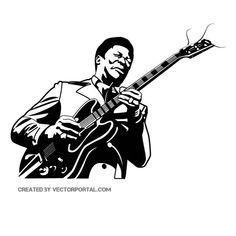 BLUES SINGER B King drawing Guitarist art Vector portrait