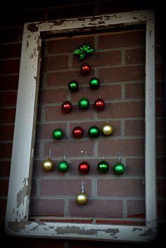 Shabby Christmas tree...Old window,screen & ornaments
