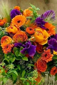 Orange and purple flowers. Exotic Flowers, Orange Flowers, Amazing Flowers, Fresh Flowers, Beautiful Flowers, Colorful Flowers, Arrangements Ikebana, Floral Arrangements, Deco Floral