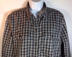 Chaps Shirt Large Womens Classics Flannel Long Sleeve Metal Buttons Plaid Black
