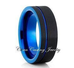 Black Tungsten Wedding Band,Tungsten Wedding Ring,Tungsten Carbide,Blu – Clean…