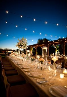 Low-slung lights, candles and lots of translucent details create an outdoor tablescape that glows in the desert night at Bryant Dewey Seasons Resort Scottsdale at Troon North. Wedding Night, Wedding Reception, Our Wedding, Dream Wedding, Outdoor Night Wedding, Trendy Wedding, Outdoor Wedding Decorations, Wedding Locations, Marie