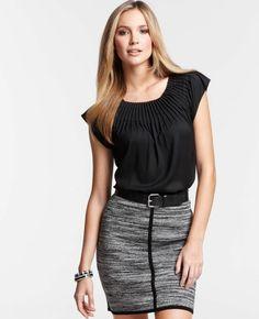 Ann Taylor - AT Blouses Tops - Sunburst Pleat Short Sleeve Top