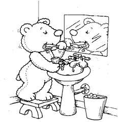 Coloring festival: Child brushing teeth coloring pages Teddy Bear Coloring Pages, Hello Kitty Colouring Pages, Bird Coloring Pages, Coloring Pages For Kids, Coloring Sheets, Hippo Crafts, Kindergarten Colors, Kids Dentist, Dinosaur Pictures