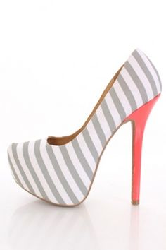 Light Grey Striped Fabric Pointy Toe Platform Pumps Heels