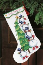 Trimming the Tree Cross-Stitch Christmas Stocking Kit