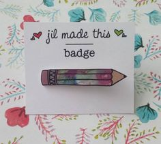A gift idea for a stationery lover - pencil brooch <3 £5