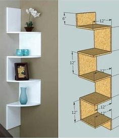 Ideas For Diy Wood Wall Shelves Furniture Plans Diy Wood Shelves, Wall Shelves Design, Diy Shelving, Bookshelf Design, Floating Shelves, Woodworking Wood, Woodworking Projects, Wood Projects, Furniture Plans