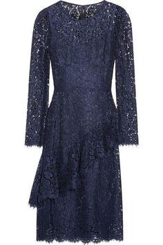 Dolce & Gabbana - Ruffled Corded Lace Dress - Navy - IT36