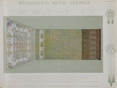 Catalogue page, 'Color Supplement iii' of 'Abridged General Catalogue of Metal Ceilings, Wall Linings and Stamped Metal for Exterior and Interior Decoration', Wunderlich Limited, Redfern, New South Wales, Australia, September 1912  'Color Supplement iii' of 'Abridged General Catalogue of Metal Ceili...