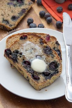 Banana- Blueberry English Muffin Bread. This would be delicious with a smear of #PlugraButter! www.plugra.com #recipe