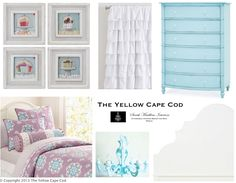 The Yellow Cape Cod: turquiose and lavender girls room inspired by art