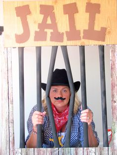 Make a 'Jail' photo op prop for your grad's cowboy themed party. If a cowboy theme is for you, check out our other photo's at www.facebook.com/royalbash