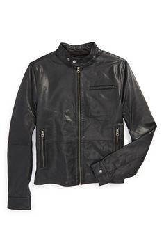 Topman Retro Leather Biker Jacket   Nordstrom