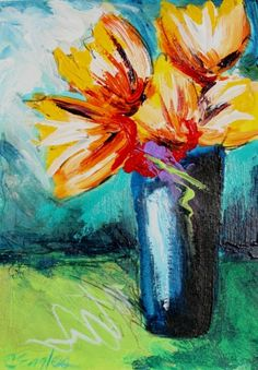 Yellow Bouquet in Blue Vase, acrylic flower painting by Carol Engles -- Carol Engles
