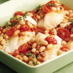 Baked Cod with Chorizo & White Beans Exchanged 2 slices bacon + 1/2t smoked paprika + 1/2t cayenne  for the chorizo.  Added minced green chili