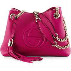 Gucci Soho Small Leather Tote Bag w/ Chain Straps ($1,250) ❤ liked on Polyvore featuring bags, handbags, tote bags, bright pink, gucci tote, leather handbags, genuine leather purse, purple leather handbag and gucci handbags