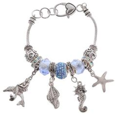 Kim Rogers Blue Silver-Tone Sea Life Charm Boxed Bracelet ($14) ❤ liked on Polyvore featuring jewelry, bracelets, blue, beading charms, animal charms, charm bracelet jewelry, bead charms and charm bracelet