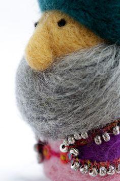 Indian Dwarf, Needle Felted, Christmas decoration, Wool Gnom,Fiber Arts, Eco Friendly, Orient King