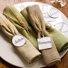 place settings napkin ties