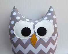 Chevron Pillow Large Plush Owl Zig Zag Minky Gray White