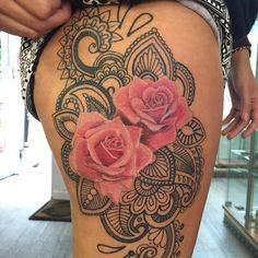 rose-tattoo-hip-thigh-design (2) The Most Lovely and Beautiful ever inked #rose #tattoo designs to get inked