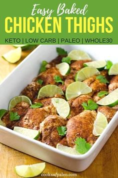 Chili roasted chicken thighs are a quick and easy keto and paleo dinner. This is also a great recipe to meal prep in advance; just make extra when you're cooking dinner! The leftover baked chicken thighs are perfect for lunch the next day on a salad or in Roast Chicken Thigh Recipes, Easy Baked Chicken Thighs, Roasted Chicken Thighs, Paleo Chicken Recipes, Real Food Recipes, Clean Chicken, Lime Chicken, Marinated Chicken, Chicken Chili