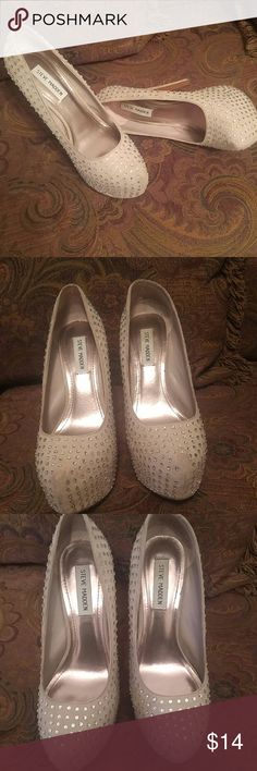 Awesome BLING heels Pre owed  6 inch bling heels. Few stones missing which is unnoticeable, few scuffs on the back of shoes. Please review pictures. Very fun shoes with lot's of wear left. Steve Madden Shoes Heels