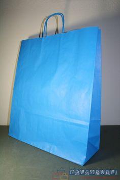 Bolsas de papel personalizadas de asa rizada. Diseño en color azul. Encontrarás más información en http://www.bolsapubli.net/productos/bolsasdepapel.html .