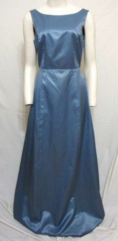 edc8ce6662ea BCBG Max Azria Prom Dress Sexy Tie Back Blue Satin Maxi Bridesmaid Women  Medium #BCBGMAXAZRIA