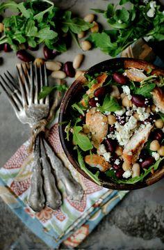 Spicy Three Bean Chicken Salad - How To: Simplify Spicy Recipes, Salad Recipes, Cooking Recipes, Healthy Recipes, Salad Bar, Soup And Salad, Cocina Natural, Three Beans, Chicken Salad