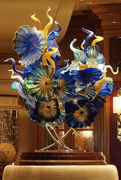 a Dale Chihuly glass sculpture- pretty sure I saw this one at the Bellagio