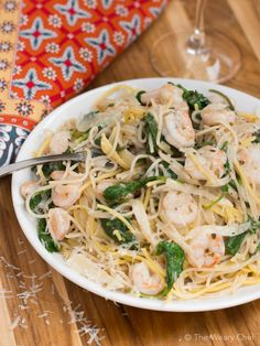 Shrimp Pasta with Pesto White Wine Sauce and Baby Kale