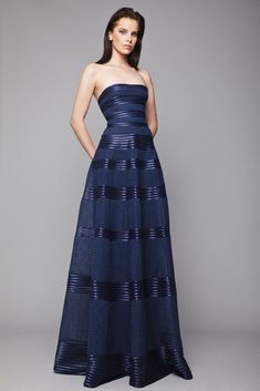 Style 25 l Strapless Navy princess gown in Point d'Esprit Tulle featuring horizontal ribbon band pattern.