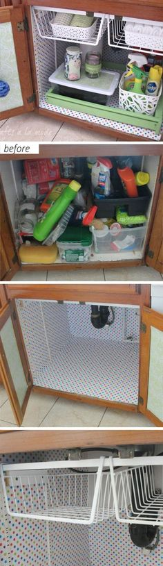 Under the Sink Makeover | Easy Storage Ideas for Small Spaces | DIY Organization/ Renovación bajo fregadero, ideas fáciles DIY para espacios pequeños
