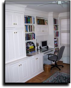 Home Office Custom Built Wall Unit Desk Wood Accented