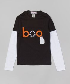 Look at this #zulilyfind! Black 'Boo' Layered Tee - Infant, Toddler & Boys by The Princess and the Prince #zulilyfinds