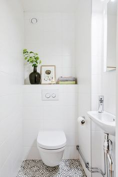 Restroom Restoration Suggestions: washroom remodel cost, shower room ideas for tiny washrooms, tiny bathroom style ideas. Tiny Bathroom Makeover, Small Toilet Room, Bathroom Toilets, Toilet, Small Toilet Design, Tile Bathroom, Small Toilet, Laundry In Bathroom, Toilet For Small Bathroom
