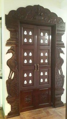Pooja Room Door Design, Main Door Design, Wooden Door Design, Window Design, Wooden Doors, Temple Design For Home, Puja Room, Prayer Room, Indian Home Decor