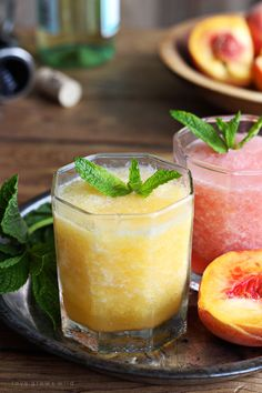 This wine slush is the perfect sip on a hot summer day! Just blend wine and fruit together and freeze into ice cubes, then enjoy a grown-up slushie whenever the mood strikes. Wine Slushie Recipe, Wine Slushies, Mojito Recipe, Kombucha Recipe, Chestnut Recipes, Peach Wine, Meals Kids Love, Champagne Drinks, Healthy Cook Books