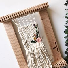 I've had this design in my brain for awhile. I've really loved the concept of combining crafts, and making something really different. Weaving Wall Hanging, Weaving Art, Tapestry Weaving, Loom Weaving, Hand Weaving, Wall Hangings, Textiles, Loom Love, Weaving Projects
